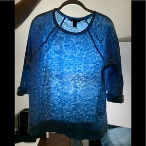 Forever 21 SZ Lg Baby Blue Lace 3/4 sleeve Top